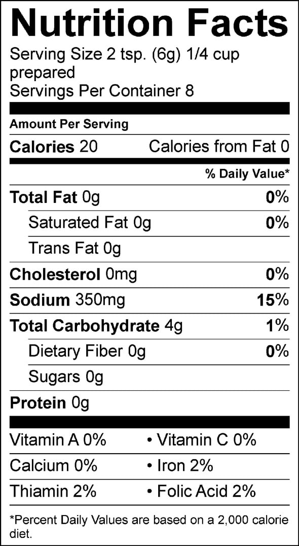 brown gravy nutrition facts sheet