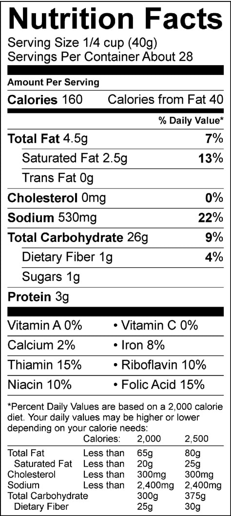 buttermilk baking mix 40oz nutrition facts sheet