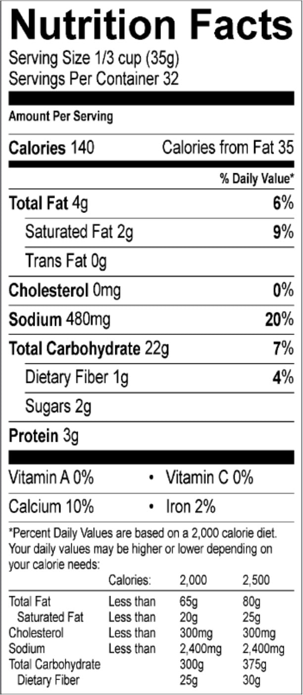 buttermilk biscuit 40 oz nutrition facts sheets