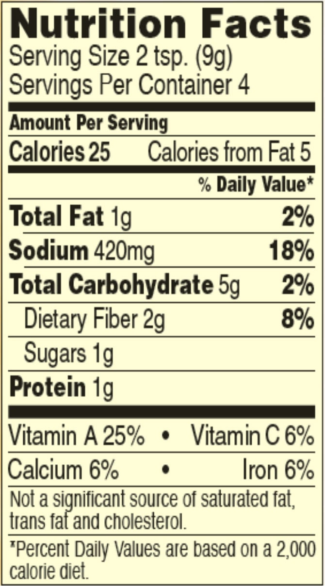 Chili seasoning mix nutrition facts sheets