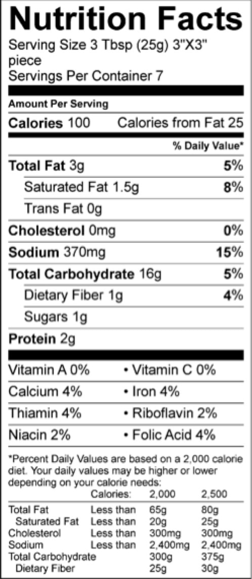corn bread pioneer nutrition yellow facts sheet