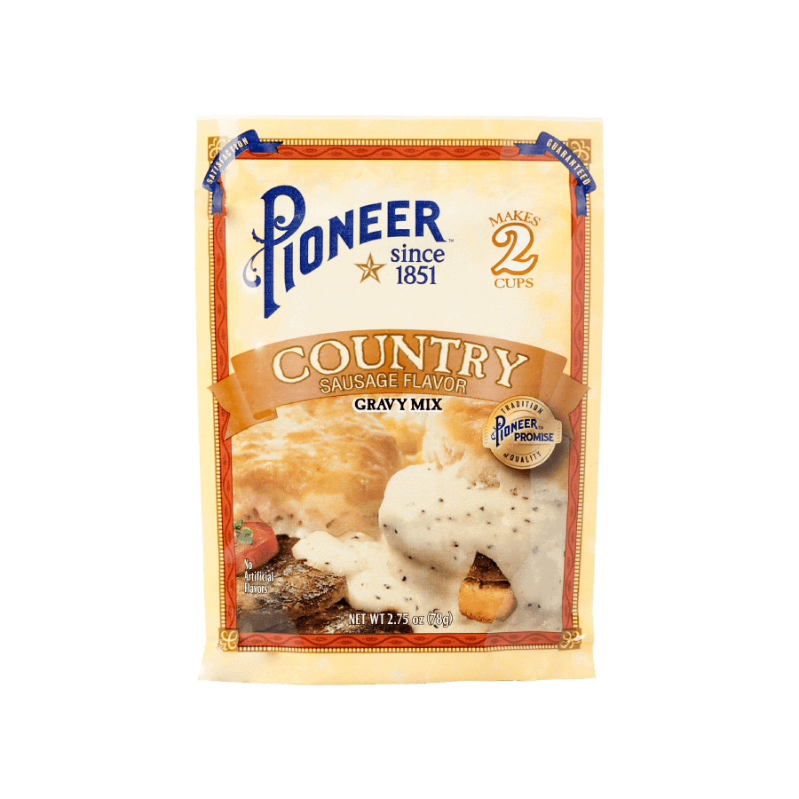 country sausage flavor gravy mix pioneer packaging