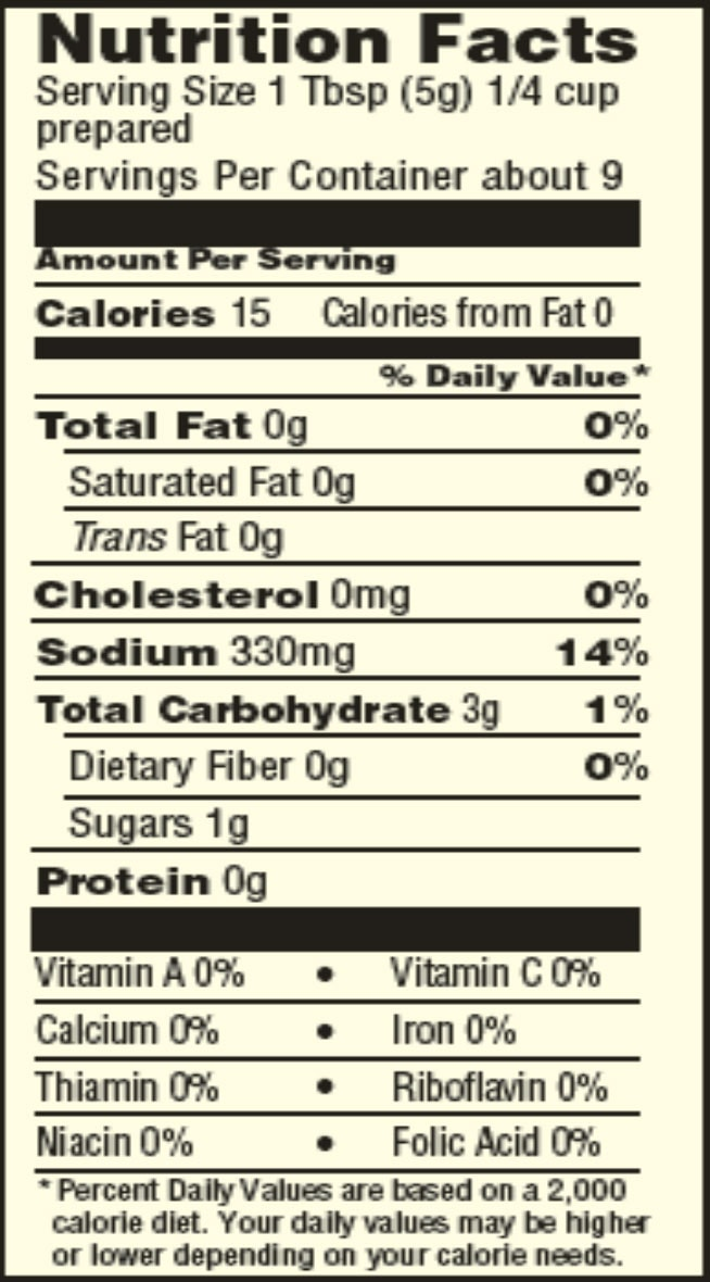 Gluten Free Brown gravy mix nutrition facts sheet
