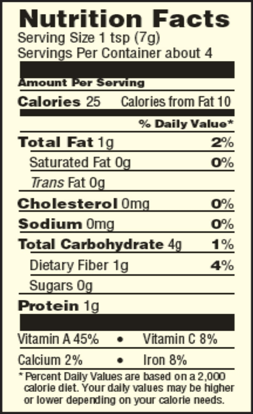 guten free chili seasoning mix nutrition facts sheet