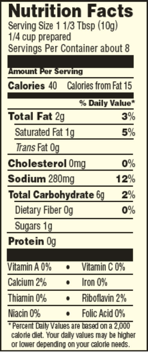 Gluten free country gravy mix nutrition facts sheets