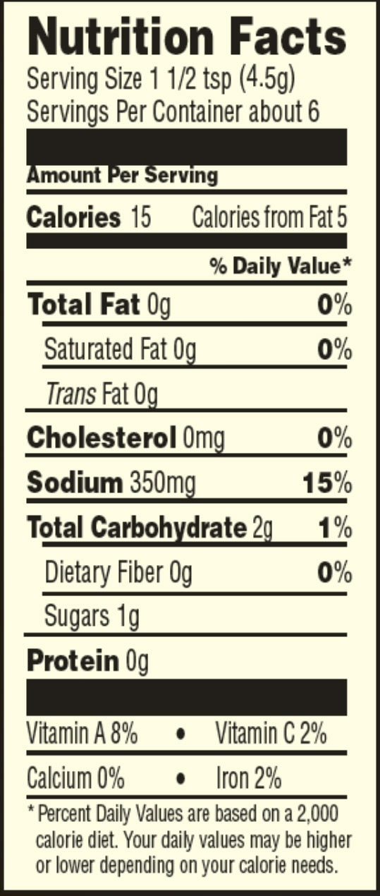 Gluten free taco seasning nutrition facts sheet