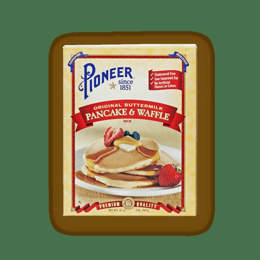 original buttermilk pancake and waffle mix packaging