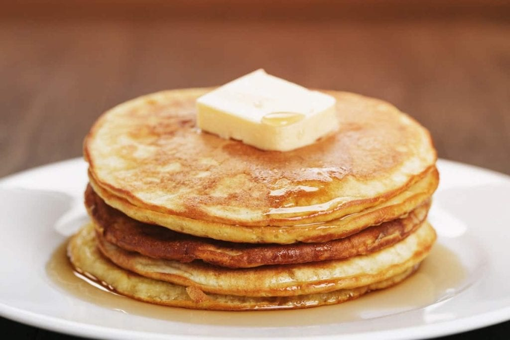 fluffy pancakes with butter and honey, pancake mix