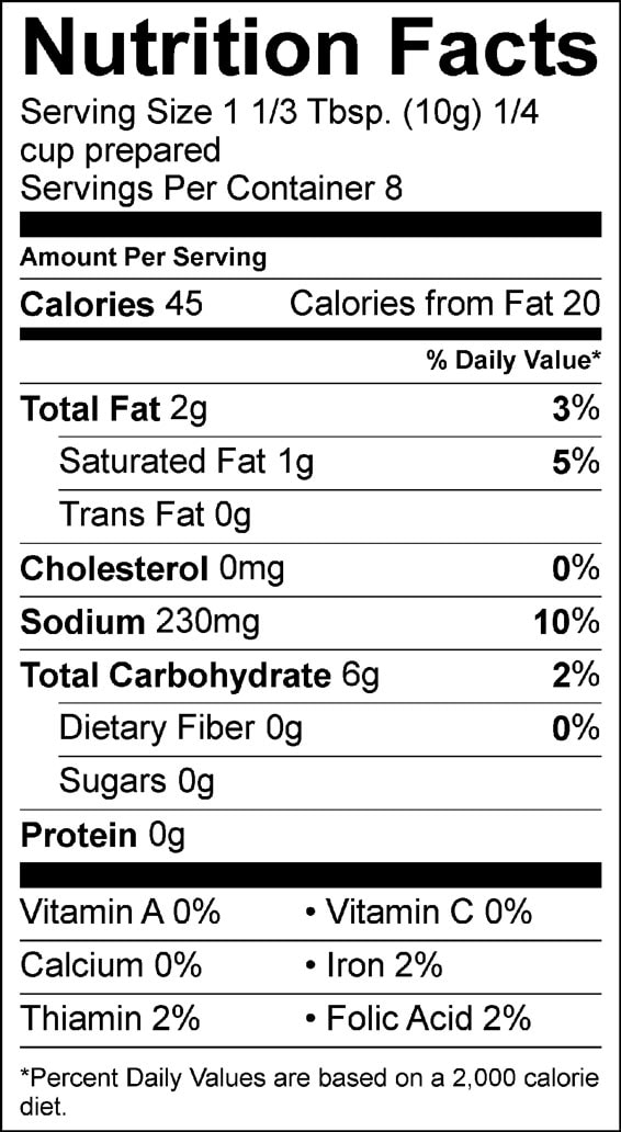 peppered gravy pioneer nutrition facts sheet