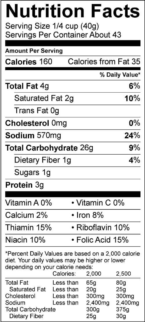 original biscuit baking mix 60oz nutrition facts sheets