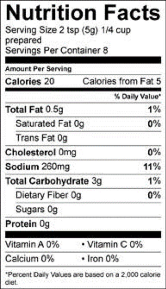 roasted beef gravy pioneer nutrition facts sheet
