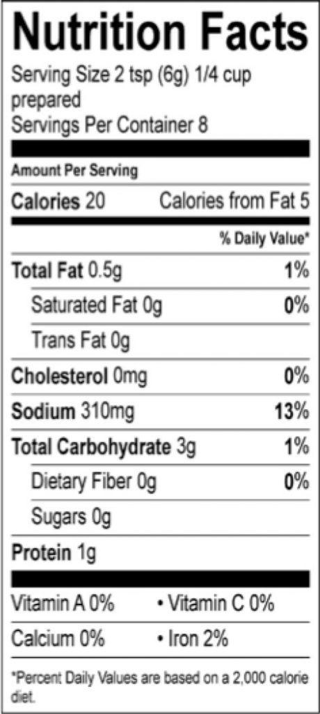 roasted chicken gravy pioneer nutrition facts sheet