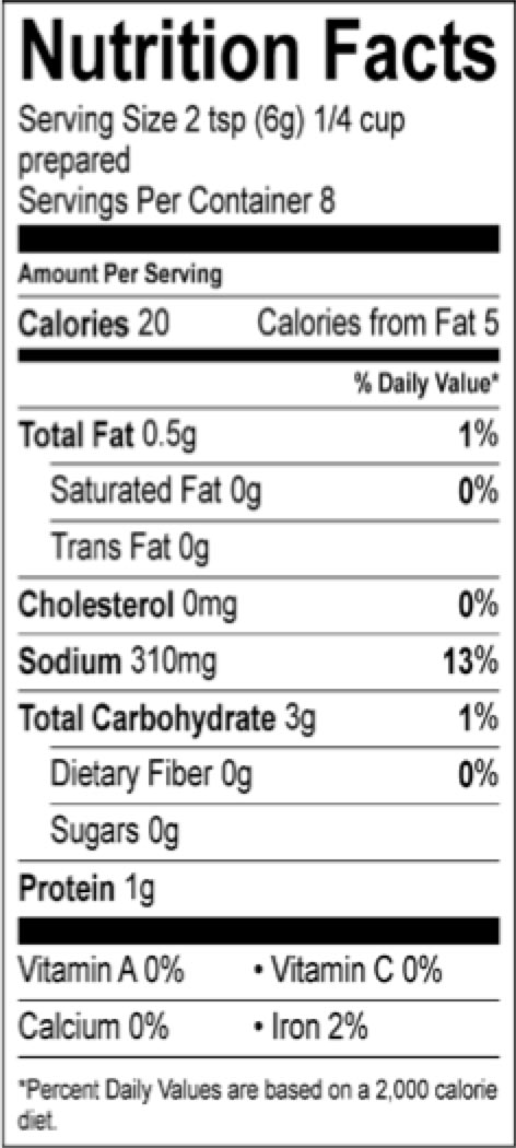roasted chicken pioneer nutrition facts sheet
