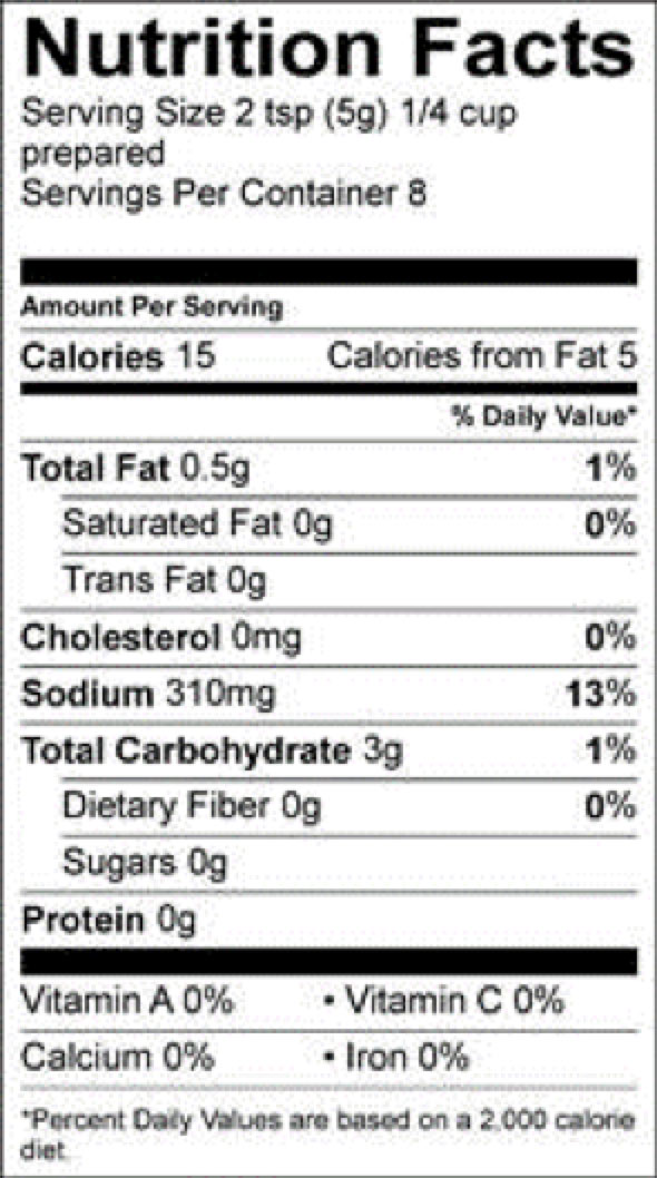 roasted park gravy pioneer nutrition fact sheet