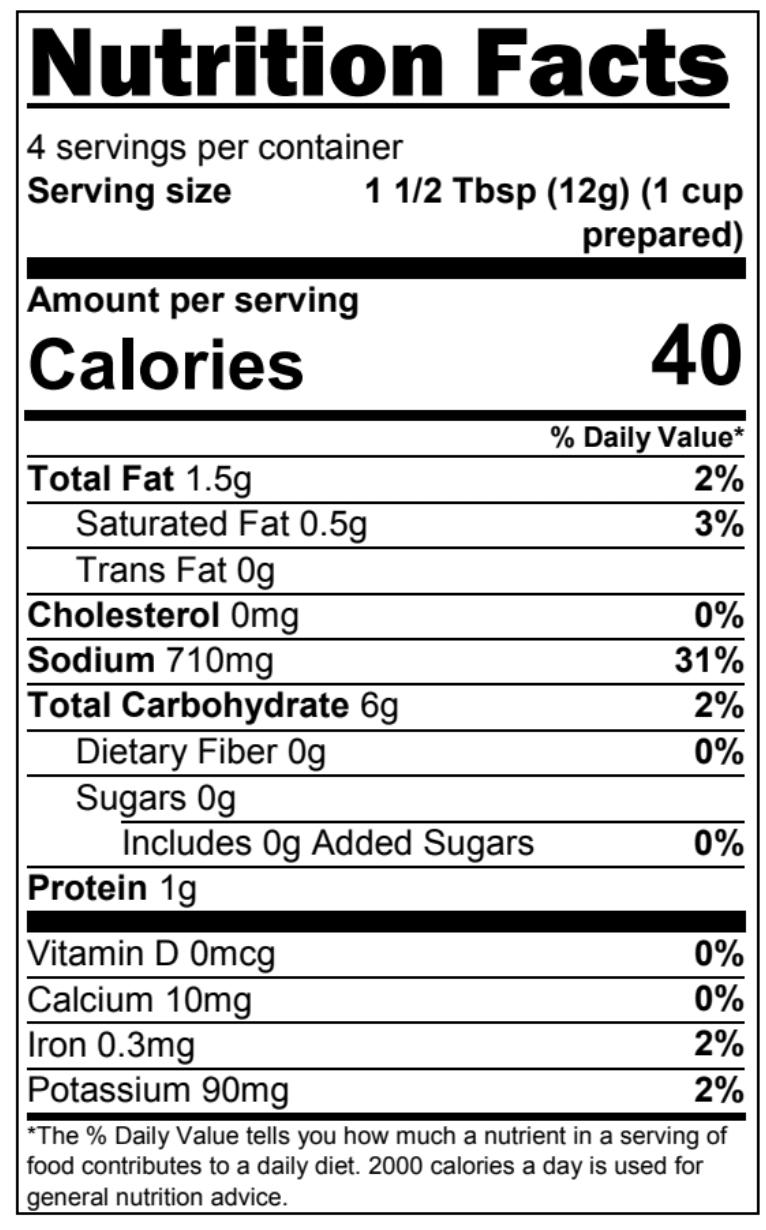 Chicken Pot Pie - Nutritional Facts