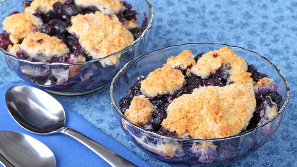 biscuit topped blueberry cobbler