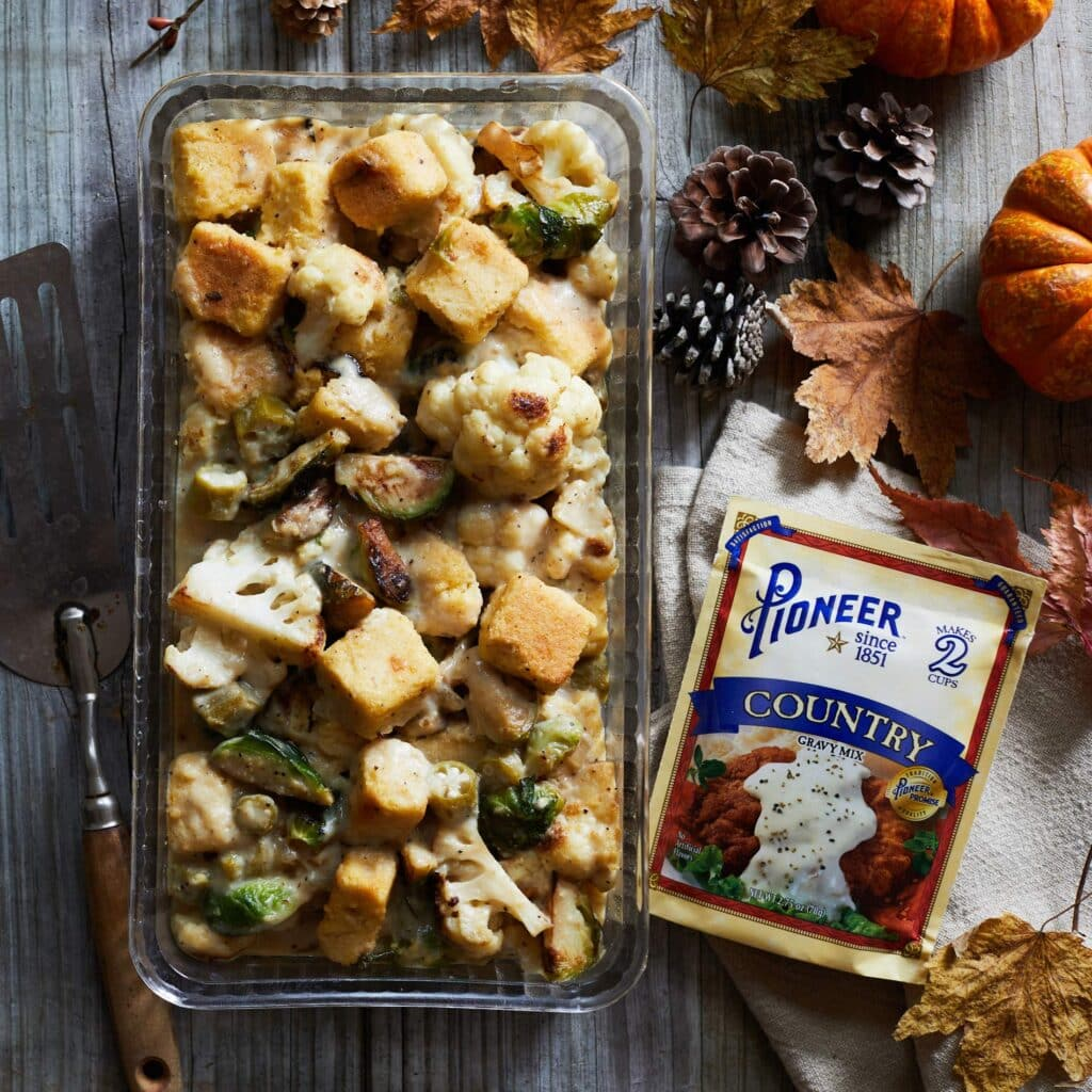 Cauliflower and Brussels Sprout Cornbread Dressing