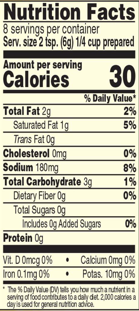 Roasted Jalapeno Gravy Mix Nutrition Facts